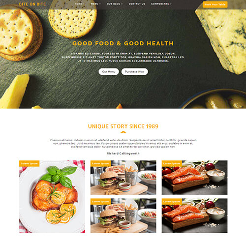 Bite on Bite – Free Restaurant HTML Website Template