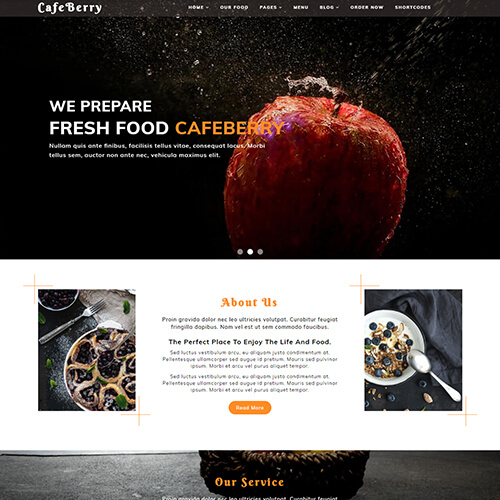 CafeBerry – Responsive Free HTML5 Restaurant Website Templates