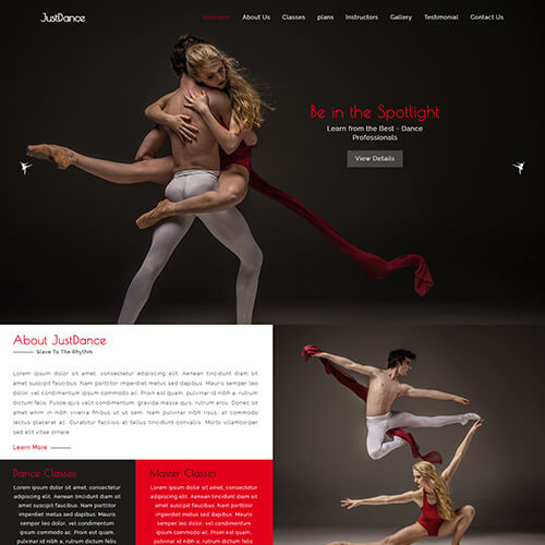 JustDance – HTML5 Dance Studio Website Template