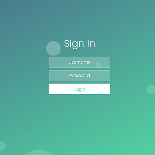 Bubble Login Form Free Responsive Widget