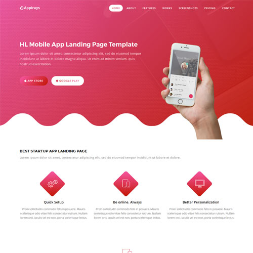 Appirays - Responsive App Landing Page Design Template HTML5