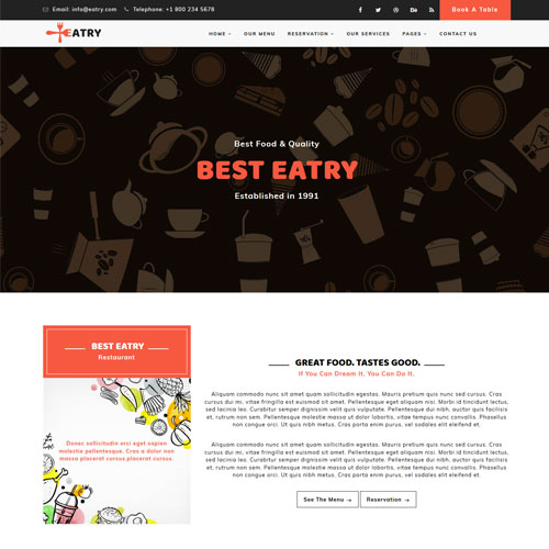 Eatry - Responsive Restaurant Template HTML5