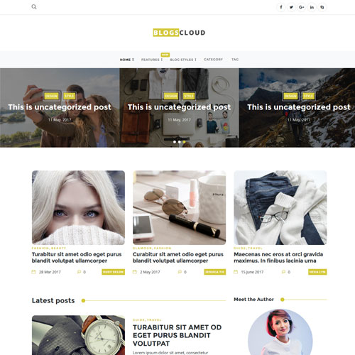 Blogscloud – HTML5 Blog Style Website Template