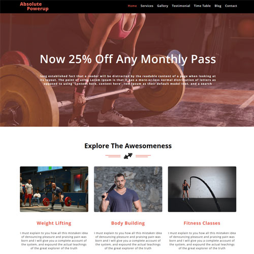 Absolute Powerup – Free Sports Website Templates HTML5