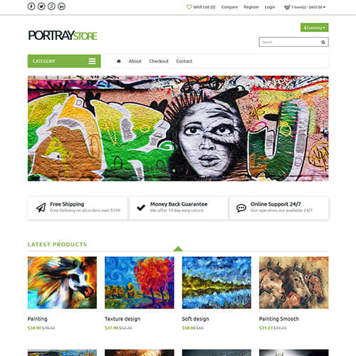 Portraystore – Responsive Art Gallery Website Design Template