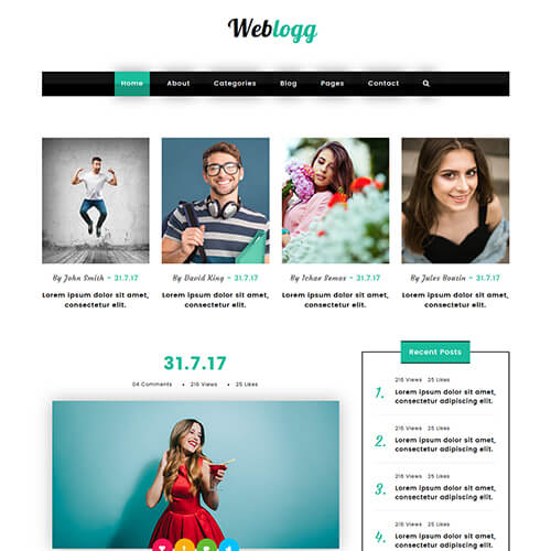 Weblogg- Responsive HTML Blogging Website Template