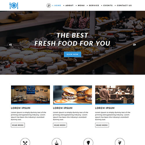 Foodvivers- Free Hotel and Restaurant Website Design Template