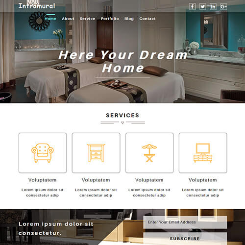 Intramural - Responsive Free Interior Design Website Template
