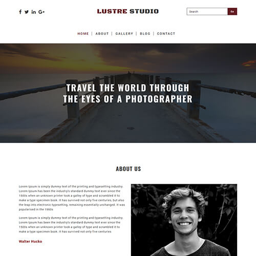 Luster Studio- Free HTML Photography Website Design Template