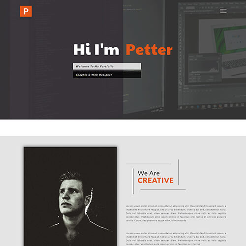 Responsive graphic design portfolio website templates themevault petter responsive graphic design portfolio website template maxwellsz