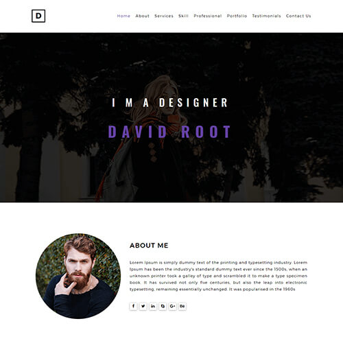 David-Root – Free Web Designer Portfolio Website Template