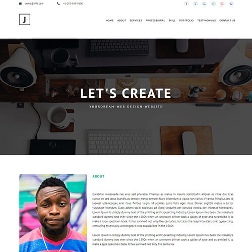 Justin-Kristiansen – web developer portfolio website template