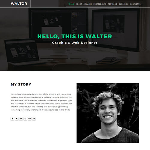 Walter-Hadon – Graphic design responsive portfolio website template