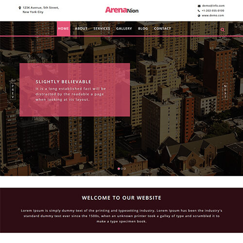 Arenanion – Responsive Property Website Template free Download