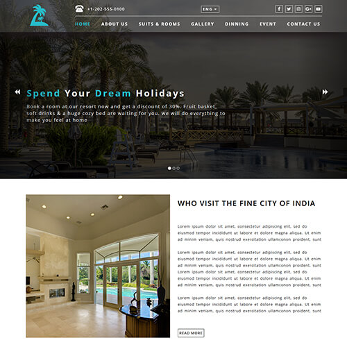Resortono- Hotel and Resort Website Template Free Download