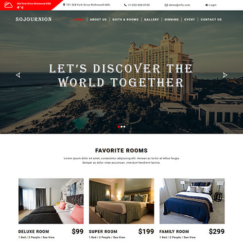 Sojournion- Free Responsive Hotel Website Template